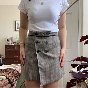 Zara Basic Brown and Black Plaid Skirt